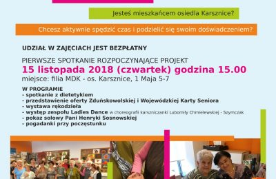 """Zaproszenie do udziału w projekcie """"Karsznice dla Seniora"""""""