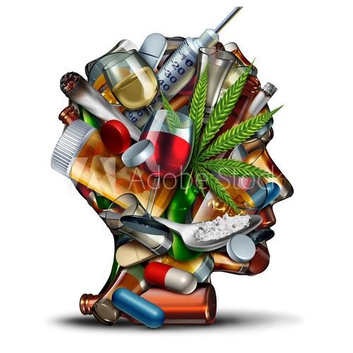 Głowa ludzka, na której są strzykawki z igłami, kieliszki z napojami alkoholowymi, krzak marihuanowy, tabletki, butelki z alkoholem, łyżeczka z białym proszkiem.
