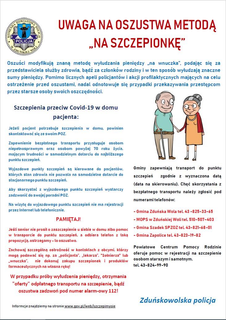Plakat oszustwa na szczepionke
