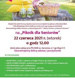 """Piknik dla Seniorów z Karsznickiego Klubu Seniora """"Lokomotywa 60+"""" i Klubu Seniora """"Uśmiech Seniora"""""""